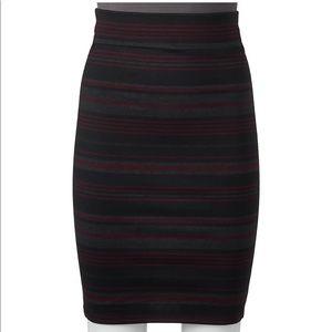 Joe B Striped Midi Pencil Skirt